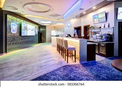 CASINO & SPORT BAR ADMIRAL, LITHUANIA - 09 FEBRUARY 2017: Interior of casino Admiral. Bar and TV screen lounge. Klaipeda, Lithuania.