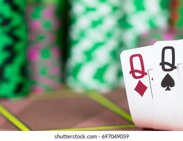 Casino Texas Hold'em Poker game. Two cards on the table.
