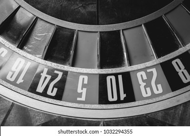 Casino theme. image of casino roulette, poker game. that our life-game. Luxury roulette in a casino. roulette wheel and the ball in the winning number zero. close up image. Black and white photo