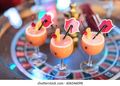 CASINO TORNADO; LITHUANIA - 15 FEBRUARY 2017: Colorful cocktails on the table. Table games lounge. Klaipeda, Lithuania.