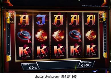 CASINO TORNADO, LITHUANIA - 24 FEBRUARY 2017: Novomatic Slot machine gaming screen. VIP slot machines. Klaipeda, Lithuania.
