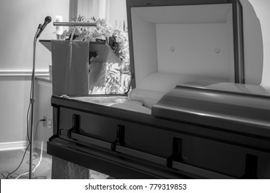 Casket in an abandoned funeral home