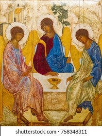 Casorate Primo, Italy. October 26 2017. The icon of the Holy Trinity (also called The Hospitality of Abraham) according to that painted by Andrei Rublev in the 15th c. Santo Vittore Martire Church.