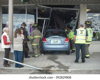 CASPER, WY___CIRCA  OCTOBER 2, 2013__Senior citizen old ladies driving in the mall got confused on where to park and ended up driving into a store.