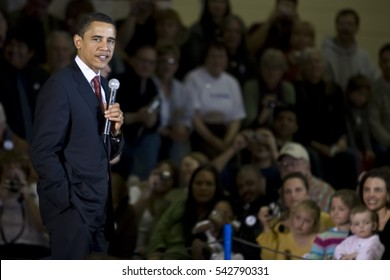 Casper, Wyoming - 7 March, 2008: Barack Obama speaking at a campaign ralley at a high school in Casper, Wyoming.