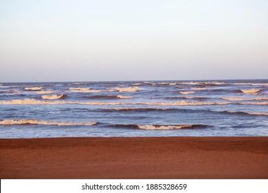 Caspian Sea at sunset. Derbent. The Republic of Dagestan. Russia