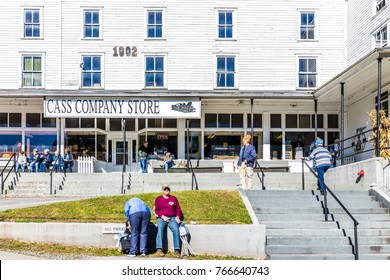 Cass, USA - October 18, 2017: Sign for Cass Company store entrance with many people tourists in autumn in West Virginia