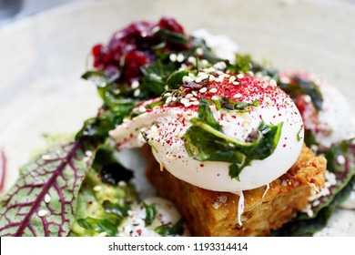 Cassava Hash Brown with Avocado, Heirloom Beetroot, Buffalo Feta and Poached Eggs