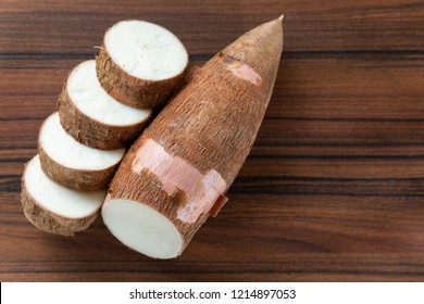 cassava slices on the table.
