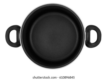 Casserole with ceramic coating, black handles, without a lid. View from above.