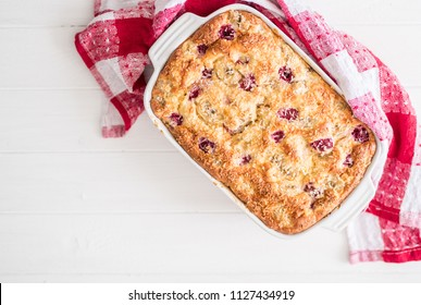 casserole from cottage cheese with berries. healthy food concept