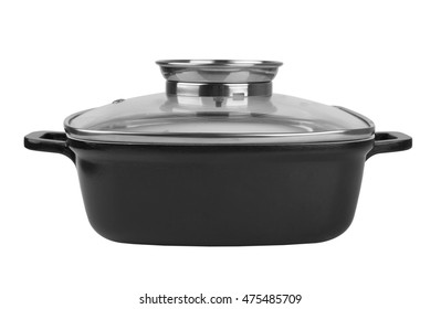 Casserole dish covered with lid isolated on white