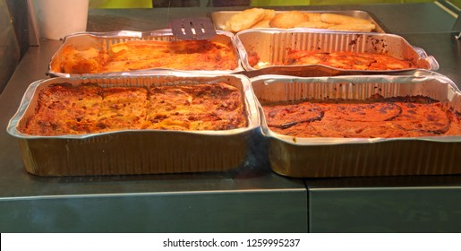 casserole with lasagne and tomato sauce typical dish of the italian Region called Emilia Romagna