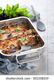 Casserole with meat, eggplant and cheese, selective focus