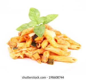 Casserole: penne, chicken, cheese, courgette, decorated with fresh basil