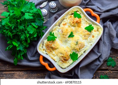 Casserole in a vegetable oven