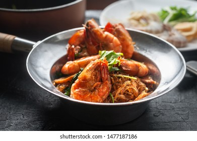 Casseroled shrimps with glass noodles