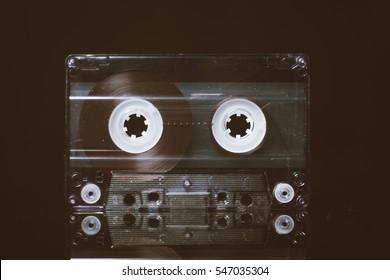 Cassette on black background