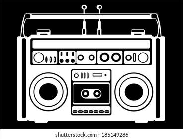 cassette recorder on black background