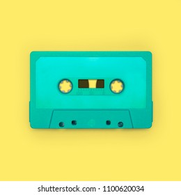 Cassette tape close up, blank for customisation of label, isolated and presented in punchy pastel colors, for nostalgic creative design web & print