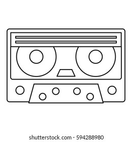 Cassette tape icon. Outline illustration of cassette tape  icon for web