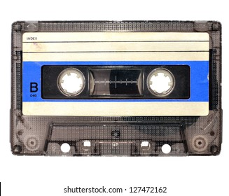 Cassette tape on white background