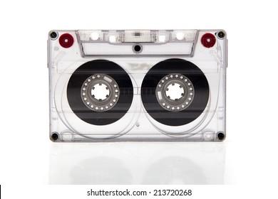 Cassette tape on white background.