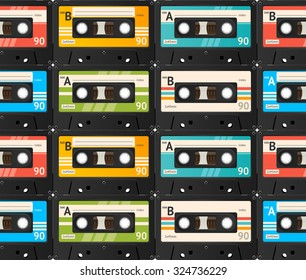 Cassette Tape Seamless Background, Old Technology, Realistic Retro Design. illustration