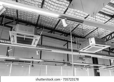 Cassette type, air condition and hvac system under insulated metal roof.