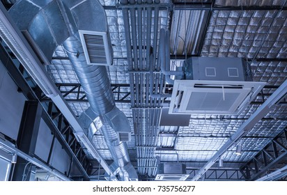 Cassette type, air condition and hvac system under bare skin ceiling of insulated metal roof.