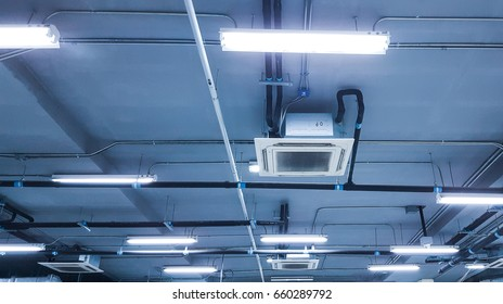 Cassette type, air condition on ceiling.