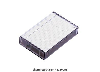 cassette video in box from visible clean list of recordings as isolated object