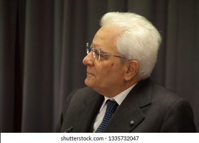 Cassino, Italy - March 11, 2019: The head of state Sergio Mattarella at the inauguration of the academic year of the University of Cassino and Southern Lazio