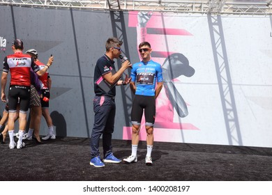 Cassino, Italy - May 16, 2019: Giulio Ciccone on the podium of the sixth stage of the 102nd Tour of Italy Cassino-San Giovanni Rotondo