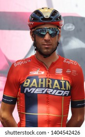 Cassino, Italy - May 16, 2019: Vincenzo Nibali of Bahrain Merida Pro Cycling team on the podium of the sixth stage of the 102th Tour of Italy Cassino-San Giovanni Rotondo