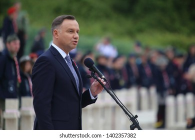 Cassino, Italy - May 18, 2019: The speech of the President of the Republic of Poland Andrzej Duda in the Polish military cemetery for the 75th anniversary of the Battle of Montecassino