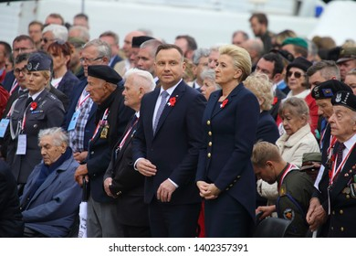 Cassino, Italy - May 18, 2019: Polish President Andrzej Duda and his wife participate in the cerminia for the 75th anniversary of the Battle of Montecassino in the Polish military cemetery