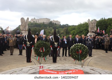 Cassino, Italy - May 18, 2019: The President of the Italian Republic Sergio Mattarella and the President of the Republic of Poland Andrzej Duda pay homage to the soldiers died in Montecassino battle