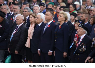 Cassino, Italy - May 18, 2019: The President of the Republic of Poland Andrzej Duda and the President of the Italian Republic Sergio Mattarella at 75th anniversary of the Battle of Montecassino