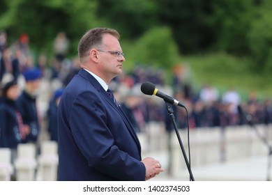 Cassino, Italy - May 18, 2019: The speech by the Polish historian and politician Jan Józef Kasprzyk - Head of the Office for War Veterans and Victims at 75th anniversary of the Battle of Montecassino