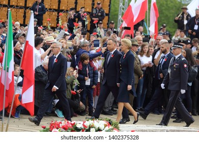 Cassino, Italy - May 18, 2019: The entry of Polish President Andrzej Duda and his wife to the Polish military cemetery for celebrations of 75th anniversary of the Battle of Montecassino