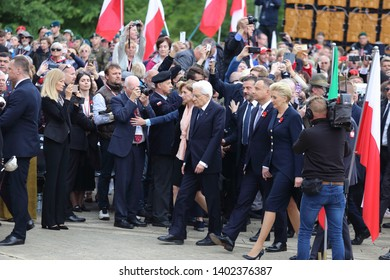 Cassino, Italy - May 18, 2019: The president of the republic Sergio Mattarella welcomed by the Polish president Andrzej Duda and his wife at  75th anniversary of the Battle of Montecassin