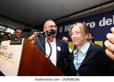 Cassino, Italy - May 25, 2011: Municipal Elections, the meeting of Giorgia Meloni for the candidate for mayor Carmelo Palombo
