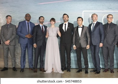 Cast attend the launch event for 'Rogue One: A Star Wars Story' at Tate Modern on December 13, 2016 in London, England.