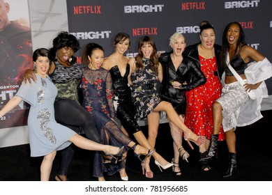 "The cast of ""Glow"" attends the Netflix ""Bright"" premiere on Dec. 13, 2017 at the Regency Village Theatre in Los Angeles, CA."