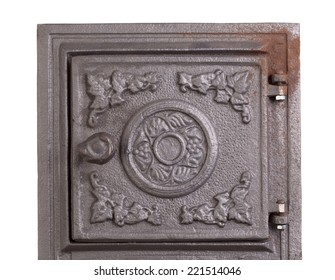 Cast iron door for furnaces. Fragment. Close up.