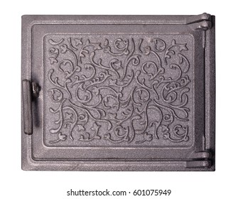 Cast iron door for furnaces. Isolated on the white background.