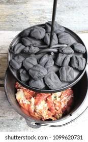 Cast Iron Dutch Oven Pasta Dinner With Briquettes
