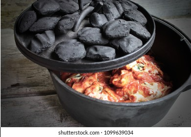 Cast Iron Dutch Oven Pasta With Lid Open