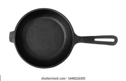 Cast iron frying pans isolated on white